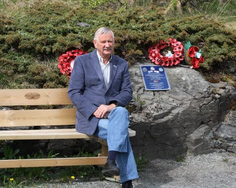 Harald Isachsen, author, historian and resident of Harstad. Harald genorously provided the bench close to our memorial.