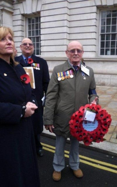 Cenotaph Parade London 2010: John Lovell, son of Commander Ted Lovell, HMS Glorious, with the Association wreath