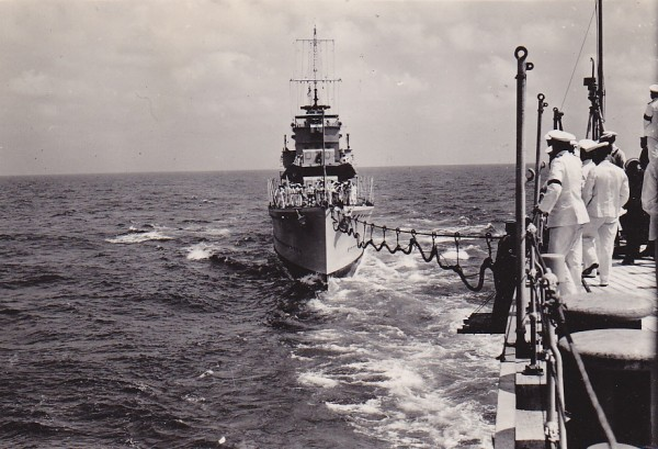 Acasta re-fuelling pre-war. Taken from HMS Berwick. Courtesy of Peter Ball