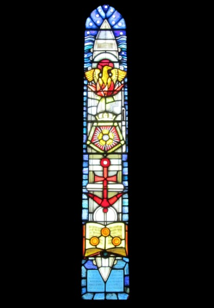 The stained glass memorial window depicting Glorious
