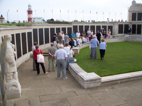 Relatives gather at Naval Memorial on the Hoe, to remember, Saturday afternoon, June 5th