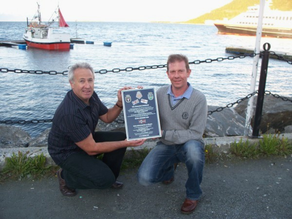 70 years to the day that the destroyers left Harstad, Mike Sellick and Gary Martin, whose grandfathers were lost with Ardent, deliver the plaque. Harstad harbour, June 7th 2010
